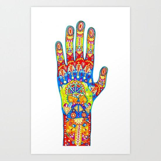 A really colourful hand Art Print