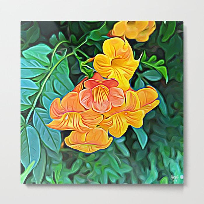 Orange Flowers of Flowing Circuitry Metal Print
