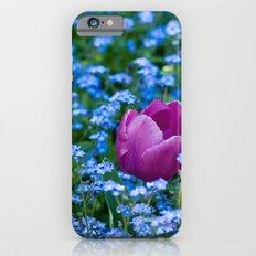 Pink Tulip in the blue Slim Case iPhone 6s