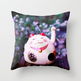 Maneki Neko chill Throw Pillow