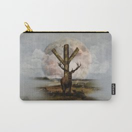 Algiz  Rune and Deer Digital Art Collage Carry-All Pouch