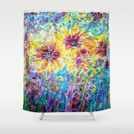 Countryside Sunflowers  by OLena Art Shower Curtain