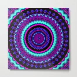 turquoise purple Mandala Metal Print