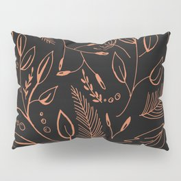 Holiday Pattern in black background and rose leaves Pillow Sham