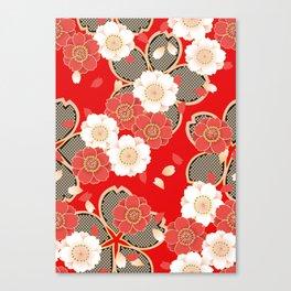 Japanese Vintage Red Black White Floral Kimono Pattern Canvas Print
