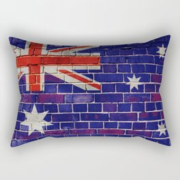 Australia flag on a brick wall Rectangular Pillow