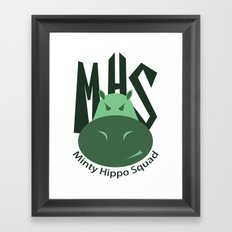 Minty Hippo Squad Framed Art Print