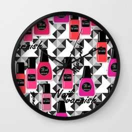 Seamless nail varnish nail polish pattern fashion cosmetic Wall Clock