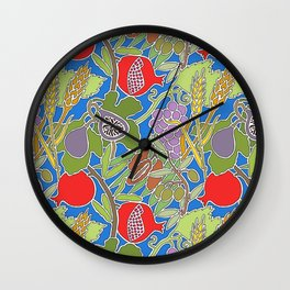 Seven Species Botanical Fruit and Grain with Blue Background Wall Clock