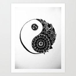Ying Yang Zentangle Art Print