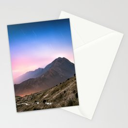 Fantasy mountainscape at night with starry sky in Hong Kong Stationery Cards