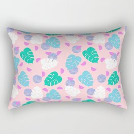 Monstera leaf house plant abstract modern print neon pink pastel summer vacation palm springs Rectangular Pillow