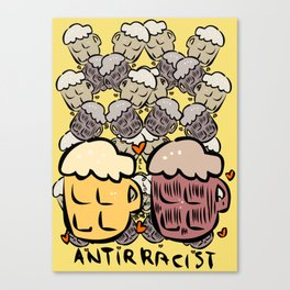 anti racist beer cerveza antiracista for punk skinhead black and white people  Canvas Print
