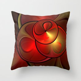 Shining Golden Red Fractal With Warmth Throw Pillow