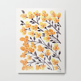 Cherry Blossoms – Yellow Palette Metal Print