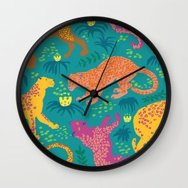 Jungle Cat Party in Vivid Green Wall Clock