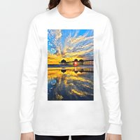 calendars Long Sleeve T-shirts featuring Sunset ~ Huntington Beach Pier CA  11/7/13 by John Minar Fine Art Photography