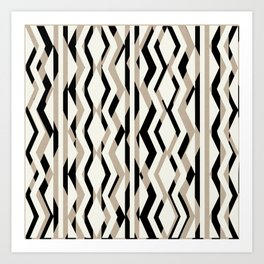 Abstract Cream Brown Black Geometric Pattern Art Print