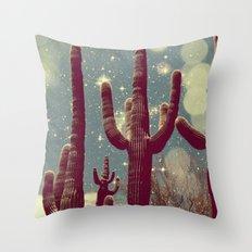 Space Cactus Throw Pillow