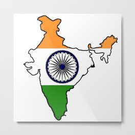 India Map with Indian Flag Metal Print