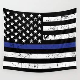 Police Thin Blue Line Flag Wall Tapestry