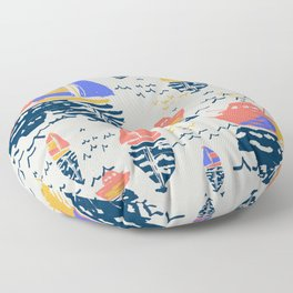 Boats on The Water Floor Pillow