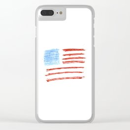 Flag of Usa 2 Chalk version- america,us,united states,american,spangled,star and strips Clear iPhone Case
