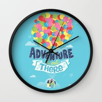 risa rodil Wall Clocks featuring Adventure is out there by Risa Rodil
