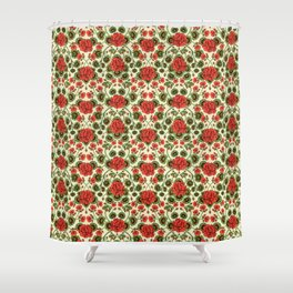 Red Geraniums -  Vintage-Inspired Floral Pattern For Spring Shower Curtain