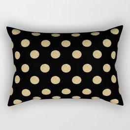 Gold Glitter Polka Dots Rectangular Pillow