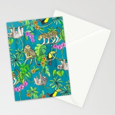 Rainforest Friends - watercolor animals on textured teal Stationery Cards