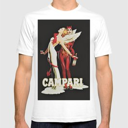 Vintage Campari Italian Bitters Aperitif Angel and Devil Advertisement Poster T-shirt