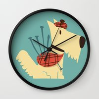 terrier Wall Clocks featuring Scottish  Terrier - My Pet by Picomodi
