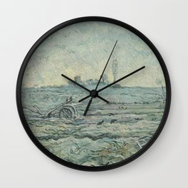 Snow-Covered Field with a Harrow (after Millet) Wall Clock