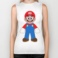 sticker Biker Tanks featuring Sticker Mario by Rebekhaart