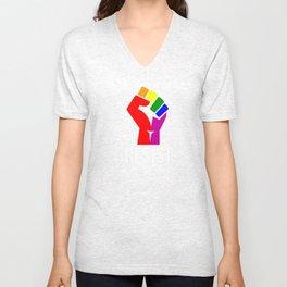 Resist Rainbow Flag National Pride March Unisex V-Neck
