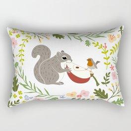 Friendship in Wildlife_Squirrel and Robin_Bg White Rectangular Pillow