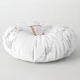 Monogram rose gold marble E Floor Pillow