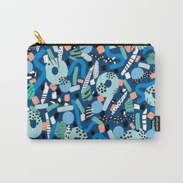 CIRCLES IN MOTION - GREEN/ BLUE brush stroke Carry-All Pouch