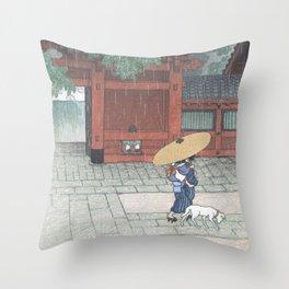Spring Rain At Sanno Shrine By Hasui Kawase - Vintage Japanese Woodblock Print Art Throw Pillow