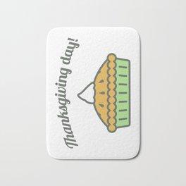 Happy Thanksgiving Day Pie Design Bath Mat