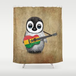 Baby Penguin Playing Ghana Flag Acoustic Guitar Shower Curtain