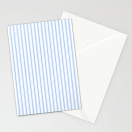 Mattress Ticking Narrow Striped Pattern in Pale Blue and White Stationery Cards