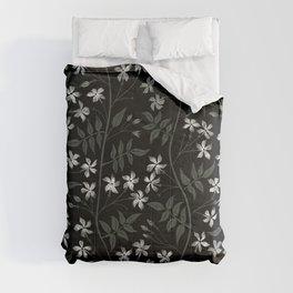 Star jasmine creeper - olive green, white and black Comforters