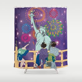 Hokusai People Seeing Statue of Liberty & Fireworks in Universe Shower Curtain