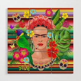Frida Kahlo Floral Exotic Portrait Wood Wall Art