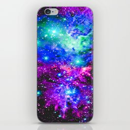 Fox Fur Nebula Galaxy Pink Purple Blue iPhone Skin