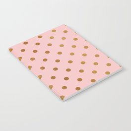Gold polka dots on rose gold background - Luxury pink pattern Notebook