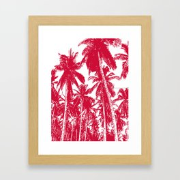 Palm Trees Design in Red and White Framed Art Print