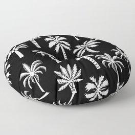 Palm Trees linocut black and white tropical summer art minimalist decor Floor Pillow